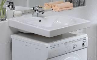 Раковина над стиральной машиной с боковым сливом