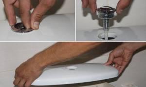 Как открыть крышку сливного бачка унитаза с кнопкой
