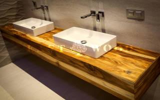 Столешница для ванной комнаты под раковину из тика